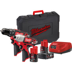 Milwaukee Milwaukee M12 BPP2B-421C combopack 12V  Li-ion - 30371 - van Toolstation