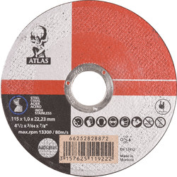 Atlas Cutting disc steel/stainless steel 115x1x22,23mm - 35198 - from Toolstation