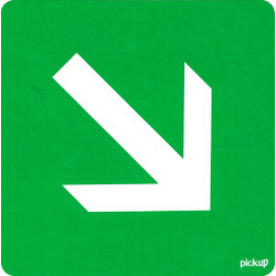 Escape Route Arrow Diagonally Sticker 10x10cm