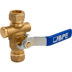 BPE Stop Ball Valve with Drain Option 2x Compression 15 x 15