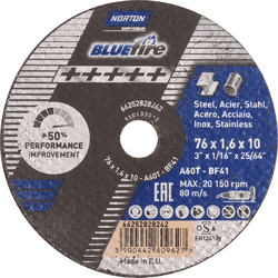 Norton Norton BlueFire cutting disc steel/stainless steel 76x1,6x10mm - 37805 - from Toolstation
