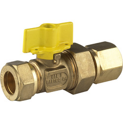 BPE Gas Ball Valve Compression x Female Coupling 22 x 1/2 ""