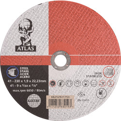 Atlas Cutting disc steel/stainless steel 230x1,9x22,23mm - 54477 - from Toolstation