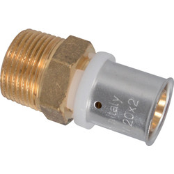 "Crimp thread fitting 20 x 2 mm x 1/2"" Male"