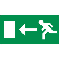 Referral Emergency Exit Left Sticker 10x20cm