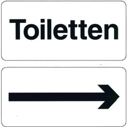 Toilets With Arrow Sticker 10x10cm