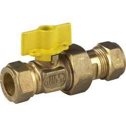 BPE Gas Ball Valve Compression x Kopp, 22 x 22 Compression