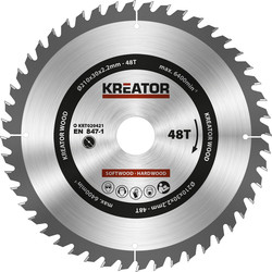 Kreator HM cirkelzaagblad hout 210mm 48 tanden, as 30mm - 93983 - van Toolstation