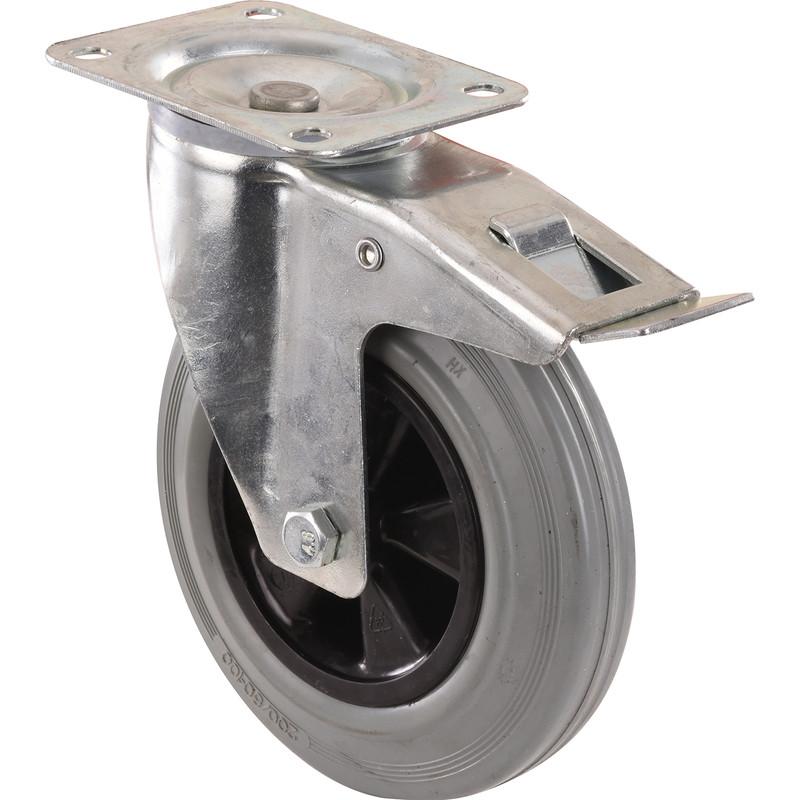 Super Shop nu een Industriële rubberen wielen 200mm / Zwenkwiel met rem JT19